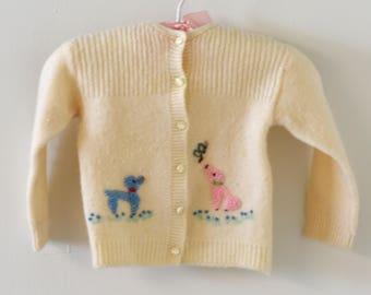 Vintage 1950s CRADLE KNIT Wool Poodle Baby Cardigan