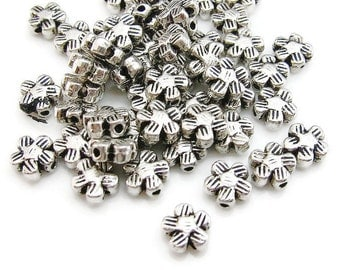 25 Silver Flower Spacer Beads, 6 x 3 mm, silvertone metal alloy, flower charms, flower beads, flower spacers, diy jewelry making findings