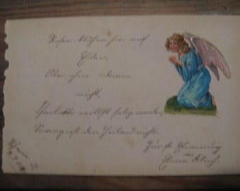 A German rhyme from an antique autograph book with poetry ... picture ... 1890!