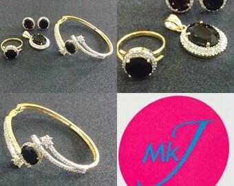 Pendant,Stud Earrings,Ring and Bangle Set. Black Stone