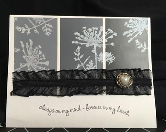 Handmade Stamped All Occasion Greeting Card with Old Fashion Black Lace and Pearl Accents