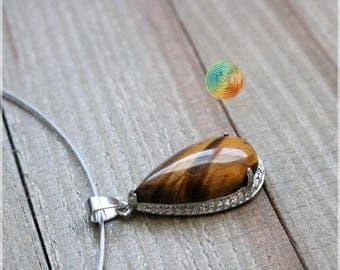 Tigers Eye necklace, Tigers Eye pendant necklace, Crystalnecklace,Genuine Tigers Eye crystal,Healing Crystal, Tigers Eye Quartz jewelry