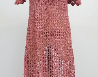 Crocheted Pink Maxi Dress