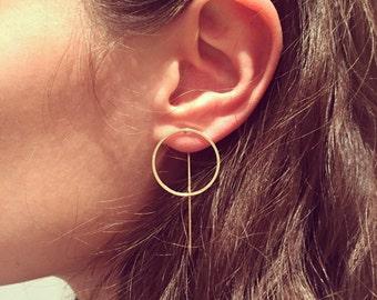 Pin thread earrings, Punk style earrings, minimal earrings, Black thread earrings, Gold thread earrings, Silver thread, circle earrings