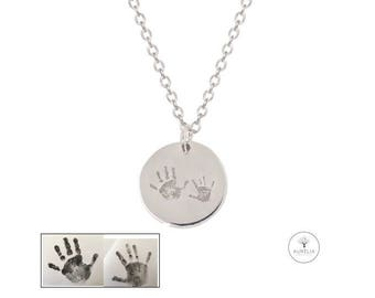 925 Silver chain with Handprint engraving