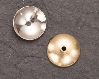 gold bead caps, plated bead cups, plain bead caps, 6mm caps, 4mm cups, jewellery making, diy jewelry, craft supplies, beading supplies, caps