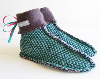 Recycled Wool Slippers, Upcycled Cashmere and Wool Sweater, boho slipper socks, Eco Friendly, Ethical Gift UK  4-5, US  6-7