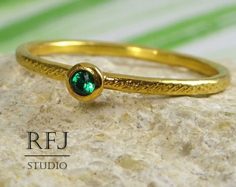 Dainty Textured Lab Emerald Gold Plated Ring, May Birthstone 2 mm Green Cubic Zirconia 24K Yellow Gold Plated Stack Ring Emerald Golden Ring