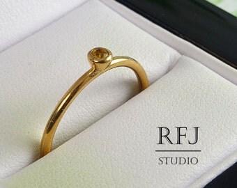14K Gold Plated Natural Citrine Ring, November Birthstone 2 mm Round Cut Citrine 14 K Rose Gold Plated Stacking Ring Rose Gold Stacker Ring