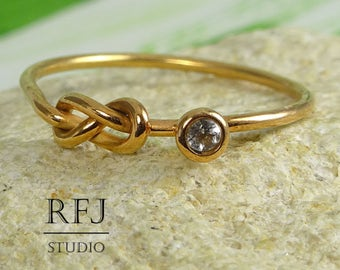 Natural White Topaz Rose Gold Plated Infinity Knot Ring, April Birthstone 14K Gold Plated Friendship Double Knot Ring, 2 mm Topaz Gold Ring