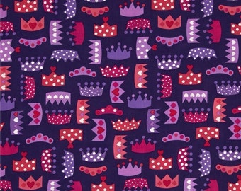 "Crown Fabric: Princess Life Small Crowns Purple by Robert Kaufman Fabric 100% cotton fabric by the yard 36""x44"" (M135)"