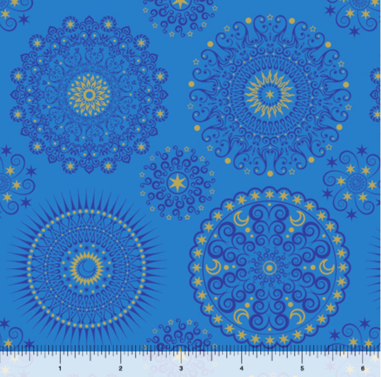 Geometric fabric celestial sol mandalas blue by quilting for Celestial fabric by the yard