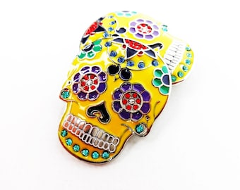 Yellow Sugar Skull Single Post Arts & Crafts Western Bridle Repair Bling Concho Two 1-3/4""