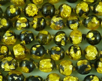 Art Deco Bead Necklace Venetian Silver Foil Black Yellow Gold Lamp Work Glass
