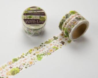 yano design flower line series White&Green design washi tape /masking tape 7m 1roll