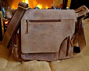 Brown Leather Laptop bag ,leather messenger bag men ,Shoulder bag men , Handmade laptop bag  Cross-body Bag leather men bag