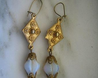 Vintage Gold Tone & Opalescent Stones Pierced Earrings