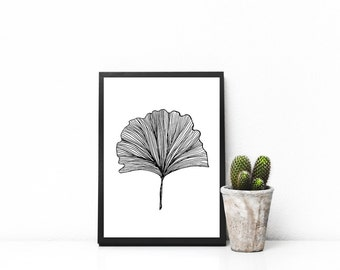 PRINTABLE Ginkgo Leaf Print, Line Art, Black and White, Nature, Wall Art, Home Decor, 8x10
