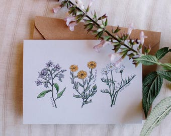 Botanical Flowers Illustrated Greeting Card