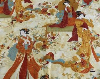 Asian Fabric BTY BTHY Geisha Fabric Oriental Fabric Designer Fabric Cotton Fabric Home Decor Fabric Pillow Fabric Pillowcase Fabric