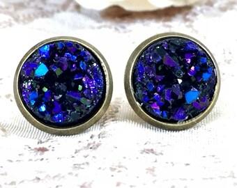 Midnight Blue Druzy Earrings - Drusy -Faux Druzy Stud Earrings - Jewelry - Bridesmaid Gift - Girlfriend Gift - Blue - Earrings - Boho - Gift