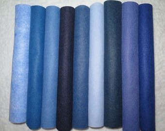 set of 9 Blues wool blend felt collection sampler, choose 9 x 12 inch sheets or 12 x 18 inch sheets
