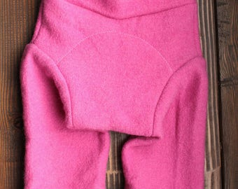 Medium 100% Wool Shorties cloth diaper cover in Bubble Gum Pink
