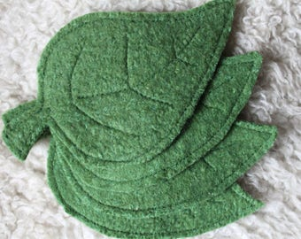 Set of 4 Upcycled Felted Wool Coasters, Leaf Shaped