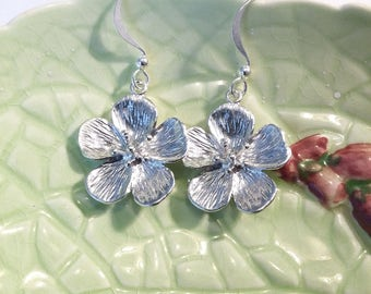 Flower earrings, silver plated, dangle, drop.