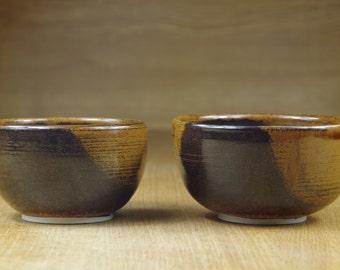 Set of Two Ceramic Bowls Handmade in Stoneware, Pottery Bowls, Tea Bowls, Rice Bowls, Nesting Bowls