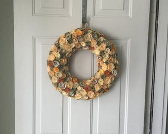 Fabric flower wreath, front door wreath, farmhouse wreath, cottage wreath, summer wreath, spring wreath, shabby chic wreath, wreath, unique