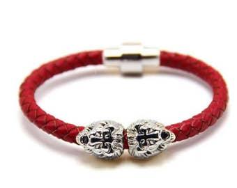 Lion Bracelet Silver / Red Nappa Leather