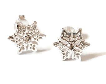 Sterling Silver SnowFlake Stud Handmade Earrings