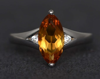 citrine ring marquise engagement ring yellow stone ring sterling silver ring gemstone ring