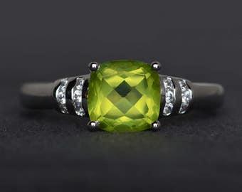 natural peridot ring cushion cut engagement ring gemstone ring sterling silver ring green ring peridot jewelry