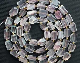 30 piece Light Pink Rose Quartz Faceted Nugget beads 9 -- 13 mm approx