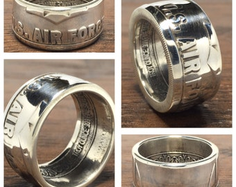 United States Air Force Silver Coin Ring