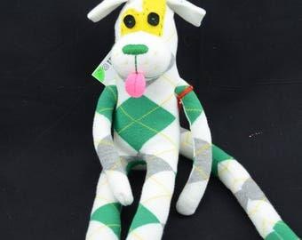 Stripy Monkey, Handcrafted gender neutral sock monkey