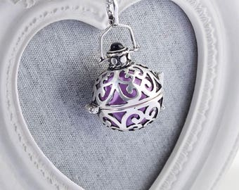 Harmony Cage MORGAN with Lavender Bola Ball Pendant & Necklace - Pregnancy Maternity Mexican Angel Caller Mum to Be