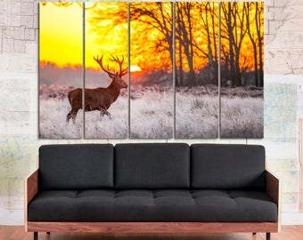 Large deer photo wall art, deer digital print home decor, deer nature photography nursery decor large poster on canvas set of 3 or 5 panels