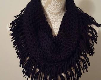 Crocheted Fringe Cowl