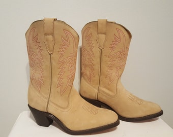 ON SALE ,Vintage Boots, Cowboy Boots, Cowgirl boots, Size 9 Boots, Pink thread boots, Ankle Boots, Cowgirl Boots, Cowgirl Gear, Womans