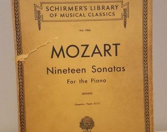 On SALE, Vintage Sheet Music, Piano Sheet Music, Mozart Piano Music, Vintage Music Books, Shirmers Library, Nineteen Sonatas, Copyright 1945