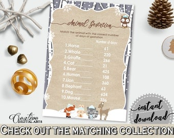 Animal Gestation, Winter Woodland Baby Shower Winter Woodland Theme in Brown And Gray, baby pregnancy game, customizable files - RM4SN