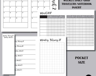POCKET Size: MONDAY Start - March 2017 Month/Weekly/Daily GRID Travelers Notebook Insert