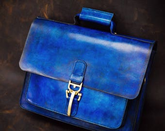 Handmade navy blue leather briefcase