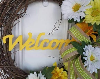 Grapevine Wreath, Spring Wreath, Yellow White and Green Wreath, Summer Wreath, Front door Wreath, Welcome Wreath, Grapevine, Spring Welcome