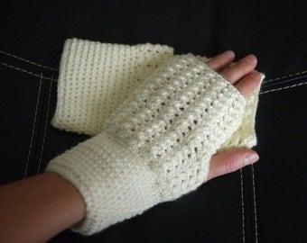 Womens Crocheted Fingerless Gloves, arm warmers, knitted gloves, handmade gift, gift for women