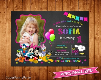 Mickey Mouse Clubhouse Invitation, Any Age Mickey Mouse Clubhouse Birthday Invitation, Chalkboard Invitation, Personalized, Digital File