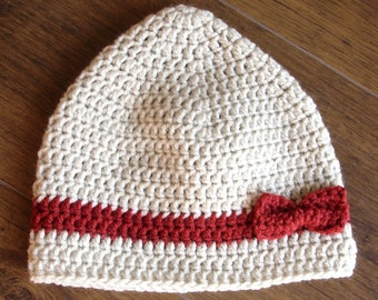 Crochet girls hat with bow-size 3 to 4 years